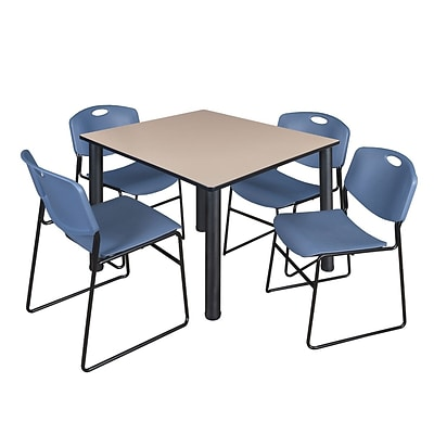 Regency Kee 48 Square Breakroom Table- Beige/ Black & 4 Zeng Stack Chairs- Blue