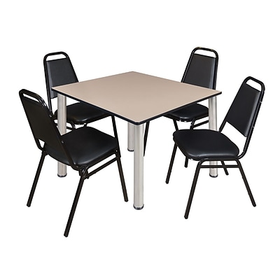 Regency Kee 48 Square Breakroom Table- Beige/ Chrome & 4 Restaurant Stack Chairs- Black