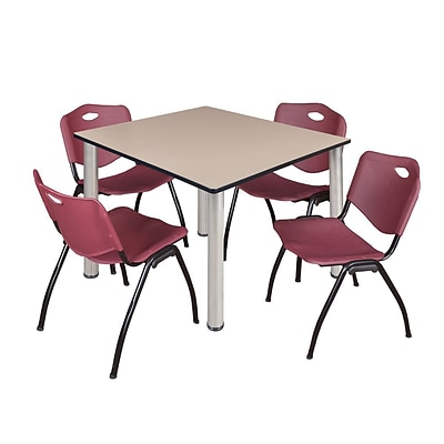 Regency Kee 48 Square Breakroom Table- Beige/ Chrome & 4 M Stack Chairs- Burgundy
