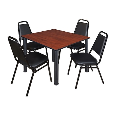 Regency Kee 48 Square Breakroom Table- Cherry/ Black & 4 Restaurant Stack Chairs- Black