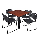 Regency Kee 48 Square Breakroom Table- Cherry/ Black & 4 Zeng Stack Chairs- Black