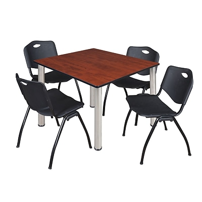 Regency Kee 48 Square Breakroom Table- Cherry/ Chrome & 4 M Stack Chairs- Black