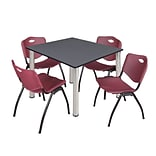 Regency Kee 48 Square Breakroom Table- Grey/ Chrome & 4 M Stack Chairs- Burgundy