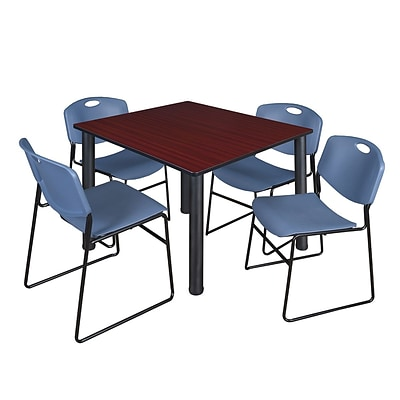 Regency Kee 48 Square Breakroom Table- Mahogany/ Black & 4 Zeng Stack Chairs- Blue