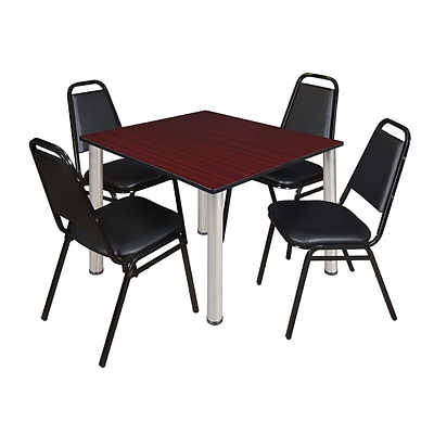 Regency Kee 48 Square Breakroom Table- Mahogany/ Chrome & 4 Restaurant Stack Chairs- Black