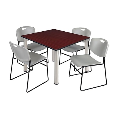 Regency Kee 48 Square Breakroom Table- Mahogany/ Chrome & 4 Zeng Stack Chairs- Grey