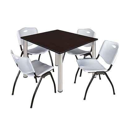 Regency Kee 48 Square Breakroom Table- Mocha Walnut/ Chrome & 4 M Stack Chairs- Grey