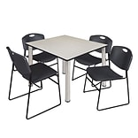 Regency Kee 48 Square Breakroom Table- Maple/ Chrome & 4 Zeng Stack Chairs- Black