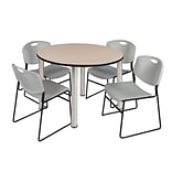 Regency Kee 48 Round Breakroom Table- Beige/ Chrome & 4 Zeng Stack Chairs- Grey