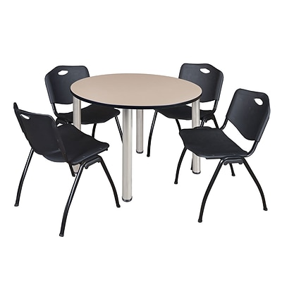 Regency Kee 48 Round Breakroom Table- Beige/ Chrome & 4 M Stack Chairs- Black