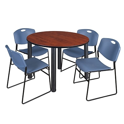 Regency Kee 48 Round Breakroom Table- Cherry/ Black & 4 Zeng Stack Chairs- Blue
