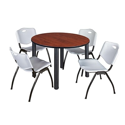 Regency Kee 48 Round Breakroom Table- Cherry/ Black & 4 M Stack Chairs- Grey