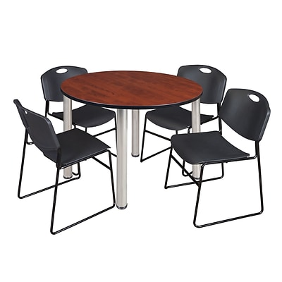Regency Kee 48 Round Breakroom Table- Cherry/ Chrome & 4 Zeng Stack Chairs- Black