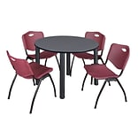 Regency Kee 48 Round Breakroom Table- Grey/ Black & 4 M Stack Chairs- Burgundy