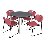 Regency Kee 48 Round Breakroom Table- Grey/ Chrome & 4 Zeng Stack Chairs- Burgundy