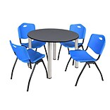 Regency Kee 48 Round Breakroom Table- Grey/ Chrome & 4 M Stack Chairs- Blue