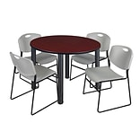 Regency Kee 48 Round Breakroom Table- Mahogany/ Black & 4 Zeng Stack Chairs- Grey