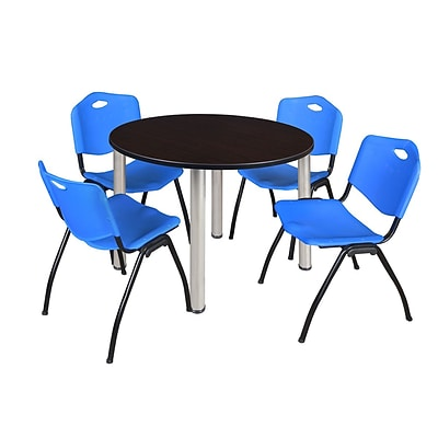 Regency Kee 48 Round Breakroom Table- Mocha Walnut/ Chrome & 4 M Stack Chairs- Blue