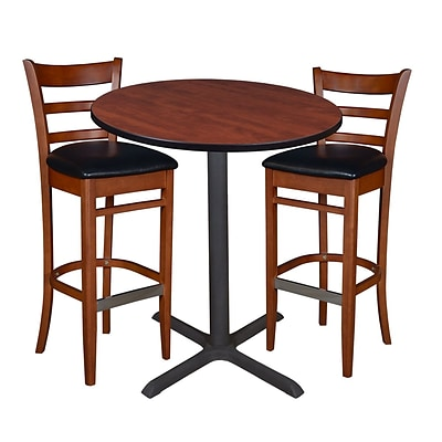 Regency 36 Round Café Table- Cherry & 2 Zoe Café Stools- Cherry/Black (TCB36RDCH95)
