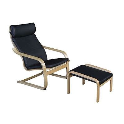 Niche Mia Bentwood Reclining Chair and Ottoman- Natural/ Black Leather