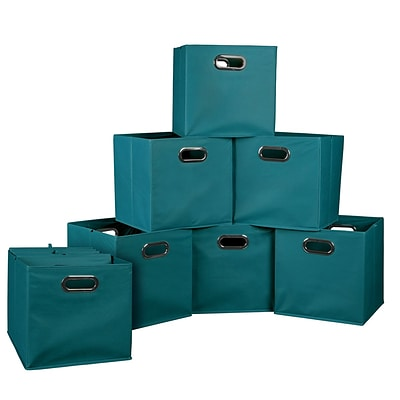 Niche Cubo Set of 12 Foldable Fabric Storage Bins, Teal, 12 x 12 (HTOTE12PKTL)