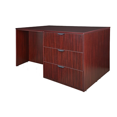 Regency Legacy Stand Up Desk/ 3 Lateral File Quad- Mahogany (LSSD3LF7246MH)