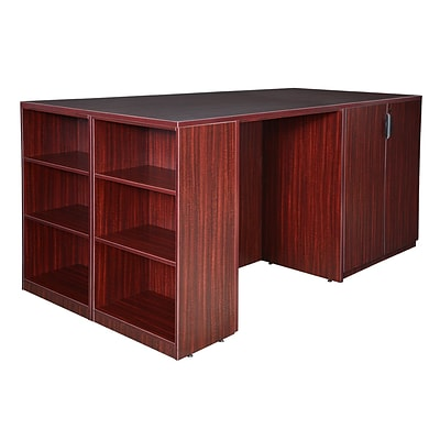 Regency Legacy Stand Up 2 Desk/ Storage Cabinet/ Lateral File Quad with Bookcase End- Mahogany