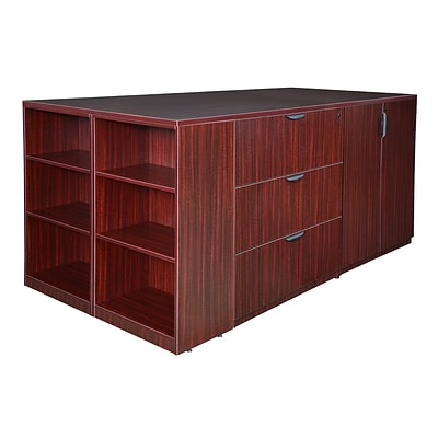 Regency Legacy Stand Up 2 Storage Cabinet/ Lateral File/ Desk Quad with Bookcase End- Mahogany