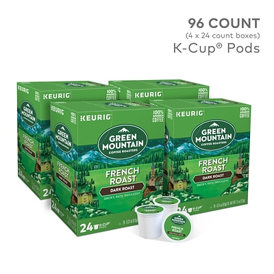 Green Mountain French Roast Coffee, Keurig K-Cup Pods, Dark Roast, 96/Carton (6694)