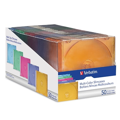 Verbatim Slim CD and DVD Storage Cases, Assorted Color, 50/Pack (94178)