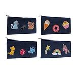 Patched Denim Pencil Pouch, 4 Assorted Designs, 10.5 x 5.25, 8pc Value Pack
