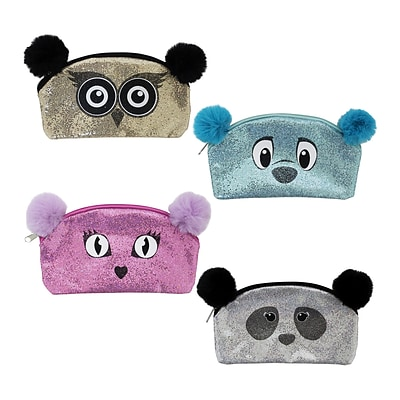 Pom Pom Ears Glitter Animal Pencil Pouch, 4 Assorted Designs, 8.5 x 5, 8pc Value Pack