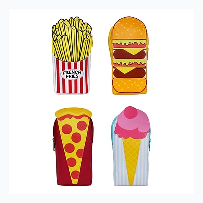 Junk Food Pencil Pouch, 4 Assorted Designs, 8.5 x 4 x 1 8pc Value Pack