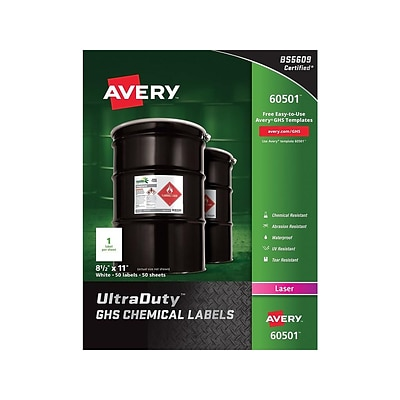 Avery UltraDuty Laser Specialty Labels, 8 1/2 x 11, White, 1 Label/Pack, 50 Sheets/Pack (60501)