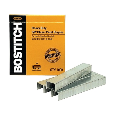 Bostitch Premium Heavy Duty Staples, 3/8 Leg Length, 1000/Box (SB353/8-1M)