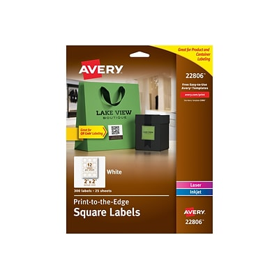 Avery Easy Peel Print-to-the-Edge Specialty Labels, 2 x 2, White, 12 Labels/Sheet, 25 Sheets/Pack (22806)
