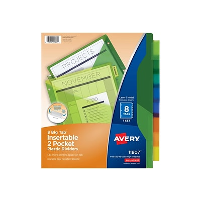Avery Big Tab Two-Pocket Insertable Plastic Dividers, 8-Tab, Multicolor (11907)