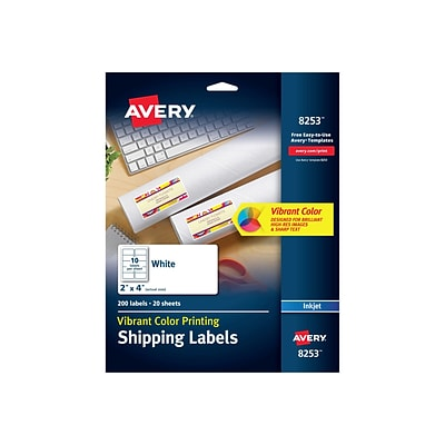 Avery Vibrant Color Printing Shipping Labels, 2 x 4, White, 10 Labels/Sheet, 20 Sheets/Pack (8253)