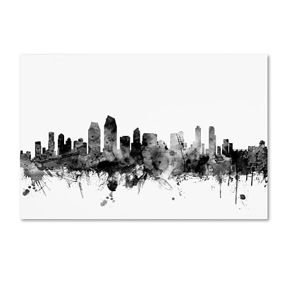 Trademark Fine Art Michael Tompsett San Diego CA Skyline B&W 12 x 19 Canvas Stretched (190836110063)