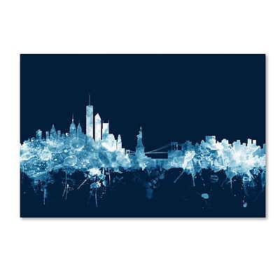 Trademark Fine Art Michael Tompsett New York Skyline Navy 12 x 19 Canvas Stretched (190836095469)