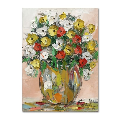 Trademark Fine Art Hai Odelia Spring Flowers in a Vase 8 14 x 19 Canvas Stretched (190836068548)