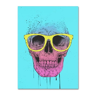 Trademark Fine Art Balazs Solti Pop Art Skull With Glasses 14 x 19 Canvas Stretched (190836177882)