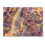 Trademark Fine Art Michael Tompsett New York City Street Map 14 x 19 Canvas Stretched (190836017
