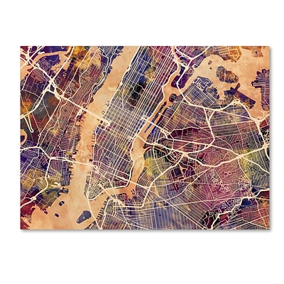 Trademark Fine Art Michael Tompsett New York City Street Map 14 x 19 Canvas Stretched (190836017058)