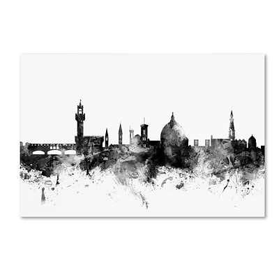 Trademark Fine Art Michael Tompsett Florence Italy Skyline B&W 12 x 19 Canvas Stretched (190836110766)