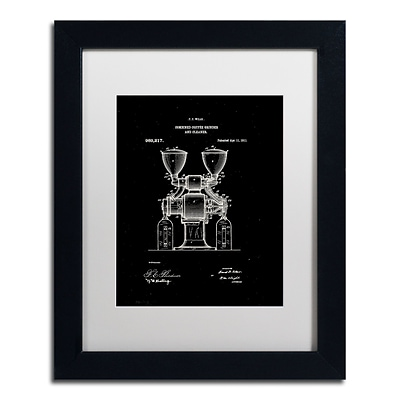 Trademark Fine Art Claire Doherty Coffee Grinder Patent 1911 Black 11 x 14 Matted Framed (886511940017)