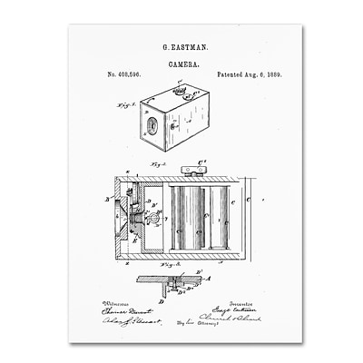 Trademark Fine Art Claire Doherty George Eastman Camera Patent White 14 x 19 Canvas Stretched (886511939370)