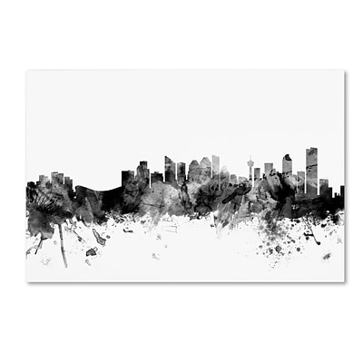Trademark Fine Art Michael Tompsett Calgary Canada Skyline B&W 12 x 19 Canvas Stretched (190836080403)