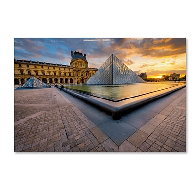 Trademark Fine Art Mathieu Rivrin Geometry of the Louvre Museum 12 x 19 Canvas Stretched (190836130146)