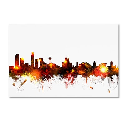 Trademark Fine Art Michael Tompsett Liverpool England Skyline Red 12 x 19 Canvas Stretched (190836092369)